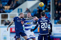 1st February 2020; Cappielow Park, Greenock, Inverclyde, Scotland; Scottish Championship Football, Greenock Morton versus Dundee Football Club; Jordon Forster of Dundee competes in the air with John Sutton of Greenock Morton