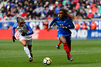 Harrison, NJ - Sunday March 04, 2018: Mallory Pugh, Grace Geyoro during a 2018 SheBelieves Cup match match between the women's national teams of the United States (USA) and France (FRA) at Red Bull Arena.