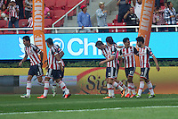 GUADALAJARA,JAL. AUGUST 4,2013.  Rafael Marquez celebrating the goal during the game of Liga MX between Chivas against Atlante at Omnilife Stadium. // Rafel Marquez celebrando el Gol durante el juego  de La Liga MX entre Chivas vs Atlante en el Estadio Omnilife. <br /> PHOTOS: NORTEPHOTO/GERMAN QUINTANA**CR&Eacute;DITO OBLIGATORIO** **USO EDITORIAL** **NO VENTAS** **NO ARCHIVO**