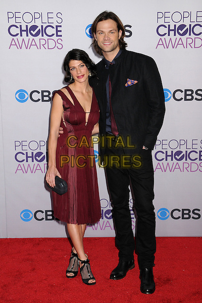 Genevieve Cortese & Jared Padalecki.People's Choice Awards 2013 - Arrivals held at Nokia Theatre L.A. Live, Los Angeles, California, USA..January 9th, 2013.full length dress ankle shoes open toe clutch bag black blue stubble facial hair shirt red aubergine maroon tie married husband wife .CAP/ADM/BP.©Byron Purvis/AdMedia/Capital Pictures.