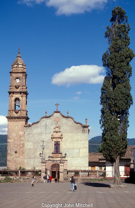 Church in the village of Santa Clara del Cobre near Lake Patzcuaro, Michoacan, Mexico