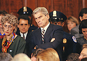 United States Senator John Warner (Republican of Virginia) watches the hearing before the US Senate Judiciary Committee to confirm Judge Clarence Thomas as Associate Justice of the US Supreme Court in the US Senate Caucus Room in Washington, DC on October 11, 1991.  Thomas was nominated for the position by US President George H.W. Bush on July 1, 1991 to replace retiring Justice Thurgood Marshall.<br /> Credit: Arnie Sachs / CNP