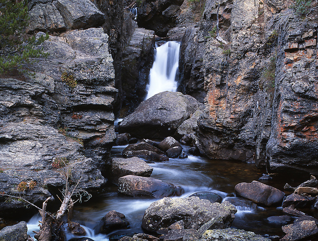 Adams Falls, late summer, Rocky Mountain National Park, Colorado, USA