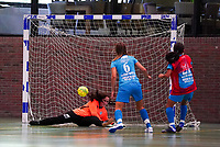 20190915– HALLE , BELGIUM : FP Halle-Gooik Girls A's goal is pictured during the Belgian Women's Futsal D1 match between FP Halle-Gooik A and FP Halle-Gooik B on Sunday 15th 2019 at the De Bres Sport Complex in Halle, Belgium. PHOTO SPORTPIX.BE | Sevil Oktem