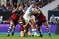 Joe Cokanasiga of Bath Rugby takes on the Bristol defence. Gallagher Premiership match, between Bristol Bears and Bath Rugby on August 31, 2018 at Ashton Gate Stadium in Bristol, England. Photo by: Patrick Khachfe / Onside Images