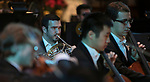 Student musicians with the DePaul School of Music fill the Saint Vincent de Paul Parish Church with the sounds of the season during the annual Christmas at DePaul performance, Friday, Dec. 8, 2017, in Lincoln Park. Christmas at DePaul is the retelling of the birth of Christ in word and song. The event is offered as a gift to the community and guests are asked to donate either money or food items to support the St. Vincent de Paul Parish Food Pantry. Each year a student is selected from The Theatre School to narrate the sacred story as selections of classical holiday music celebrating the birth of Christ are performed by the DePaul Community Chorus and student musicians from the School of Music. (DePaul University/Jamie Moncrief)