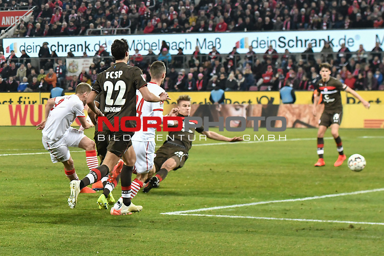 08.02.2019, Rheinenergiestadion, K&ouml;ln, GER, DFL, 2. BL, VfL 1. FC Koeln vs FC St. Pauli, DFL regulations prohibit any use of photographs as image sequences and/or quasi-video<br /> <br /> im Bild Simon Terodde (#9, 1.FC K&ouml;ln / Koeln)  macht das Tor zum 4:1<br /> <br /> Foto &copy; nph/Mauelshagen