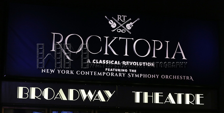 "Theatre Marquee for the Broadway Opening Night Performance Curtain Call of  ""Rocktopia"" at The Broadway Theatre on March 27, 2018 in New York City."