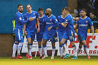 Tom Eaves of Gillingham (2nd left) celebrates after he scores his team's first goal of the game to make the score 1-1 during the Sky Bet League 1 match between Gillingham and Fleetwood Town at the MEMS Priestfield Stadium, Gillingham, England on 27 January 2018. Photo by David Horn.