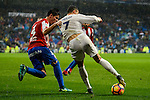 Real Madrid's player Cristiano Ronaldo and Sporting de Gijon's player Meré during match of La Liga between Real Madrid and Sporting de Gijon at Santiago Bernabeu Stadium in Madrid, Spain. November 26, 2016. (ALTERPHOTOS/BorjaB.Hojas)