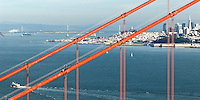 San Francisco Golden Gate Bridge, Bay Bridge, Coit Tower and Transamerica Building Scenic Stock Photographs