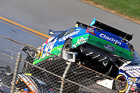 Apr 26, 2009; Talladega, AL, USA; NASCAR Sprint Cup Series driver Carl Edwards (99) goes airborne on the last lap during the Aarons 499 at Talladega Superspeedway. Mandatory Credit: Mark J. Rebilas-