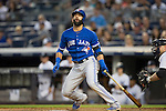 Jose Bautista (Blue Jays),<br /> AUGUST 7, 2015 - MLB :<br /> Jose Bautista of the Toronto Blue Jays reacts at bat during the Major League Baseball game against the New York Yankees at Yankee Stadium in the Bronx, New York, United States. (Photo by Thomas Anderson/AFLO) (JAPANESE NEWSPAPER OUT)
