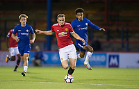 Ethan Hamilton of Manchester United and Jacob MADDOX of Chelsea during the U23 Premier League 2 match between Chelsea and Manchester United at the EBB Stadium, Aldershot, England on 18 September 2017. Photo by Andy Rowland.