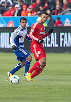 06 April 2013: Toronto FC midfielder John Bostock #7 and FC Dallas midfielder/forward David Ferreira #10 in action during an MLS game between FC Dallas and Toronto FC at BMO Field in Toronto, Ontario Canada..The game ended in a 2-2 draw..