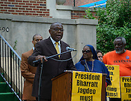 July 19, 2011 (Washington, DC)  Akbar Muhammad, the International Representative of Louis Farrakhan and the Nation of Islam, held a press conference in front of the Embassy of Guyana, announcing a $15 million dollar lawsuit against the government of Guyana.  Mr. Muhammad alleges he was falsely detained in Guyana on May 19, 2011, for what he describes as fabricated charges of drug trafficking and terrorism.  He was later released without being formally charged.  Muhammad maintains his innocence, claiming the allegations were fabricated to tarnish his image, character and reputation.  He also sought an apology from the Guyanese government, but Bharrat Jagdeo, President of Guyana, has refused to apologize. (Photo by Don Baxter/Media Images International)
