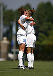 Rebecca Moros (r), of Duke, celebrates her goal at 19:51 with teammate Carolyn Ford (30) on Sunday September 18th, 2005 at Koskinen Stadium in Durham, North Carolina. The Duke University Blue Devils defeated the University of San Diego Toreros 5-0 during the Duke adidas Classic soccer tournament.