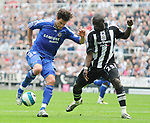 Newcastle's Abdoulaye Faye and Chelsea's Michael Ballack. during the Premier League match at the St James' Park Stadium, Newcastle. Picture date 5th May 2008. Picture credit should read: Richard Lee/Sportimage