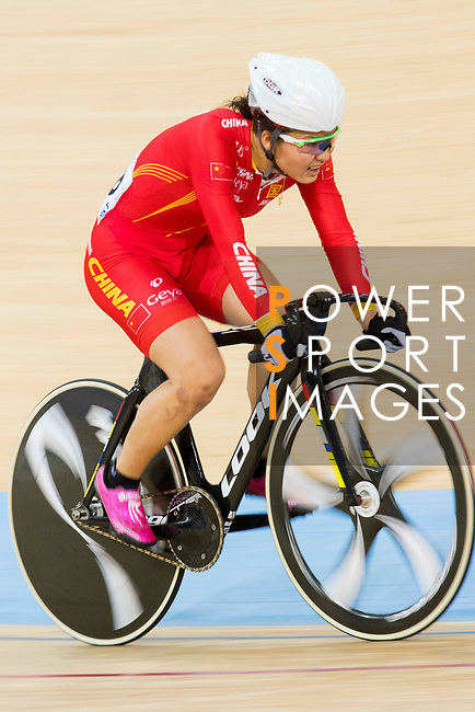 Luo Xiaoling of China competes on the Women's Omnium Points Race 4/4  during the 2017 UCI Track Cycling World Championships on 14 April 2017, in Hong Kong Velodrome, Hong Kong, China. Photo by Chris Wong / Power Sport Images