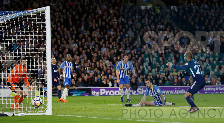 Shane Duffy of Brighton nearly scores an own goal during the premier league match at the Amex Stadium, London. Picture date 17th April 2018. Picture credit should read: David Klein/Sportimage