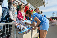 Bridgeview, IL - Saturday April 22, 2017: Fans, Sofia Huerta after a regular season National Women's Soccer League (NWSL) match between the Chicago Red Stars and FC Kansas City at Toyota Park.