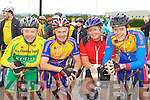 Donal Keane Tralee, Michael O'Callaghan, Ann O'Callaghan and Denis Keane Ballymac keeping fit at the charity cycle in Castleisland on Sunday morning.