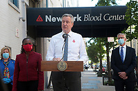 NEW YORK, NEW YORK-MAY 21, 2020- New York City Mayor Bill De Blasio, New York First Lady Chirlane McCray hold press conference after donating blood at the New York Blood Center with New York Assembly Member Rebecca Seawright and Christopher D. Hillyer, MD, President and CEO of New York Blood Center (NYBC) in attendance requesting New Yorkers to donate blood.  <br /> CAP/MPI43<br /> ©MPI43/Capital Pictures
