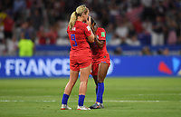 DECINES-CHARPIEU, FRANCE - JULY 02: Lindsey Horan #9 and Crystal Dunn #19 share tears together celebrating their victory over England during a 2019 FIFA Women's World Cup France Semi-Final match between England and the United States at Groupama Stadium on July 02, 2019 in Decines-Charpieu, France.
