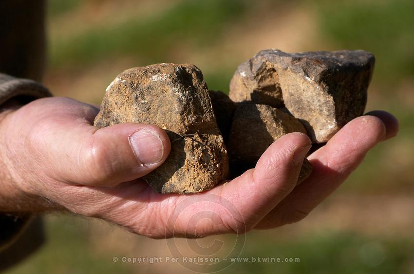 Rocks in the hand. Domaine Henry Natter, Montigny, Sancerre, Loire, France