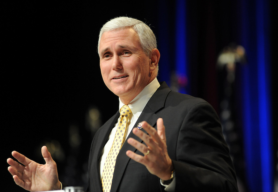 Rep. Mike Pence (R-Ind.) speaks to the crowd during the 37th Annual Conservative Political Action Conference held at Marriott Wardman Park Hotel in Washington DC on Friday, Feb. 19, 2009. (Amanda Lucidon)