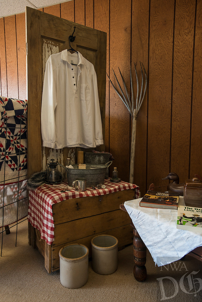 NWA Democrat-Gazette/ANTHONY REYES &bull; @NWATONYR<br /> A life in the Ozarks exhibit Monday, March 21, 2016 inside the Elm Springs Historical Society 100-year-old building. Exhibits include colonial period, ozark life, costumes and civil war pieces. Across the street from the building is land that will become a park where they have evidence thousands of civil war troops once camped.