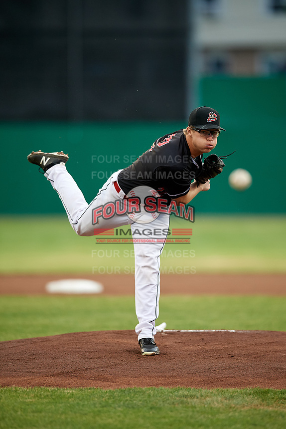 Batavia Muckdogs starting pitcher RJ Peace (22) delivers a pitch during a game against the West Virginia Black Bears on June 18, 2018 at Dwyer Stadium in Batavia, New York.  Batavia defeated West Virginia 9-6.  (Mike Janes/Four Seam Images)