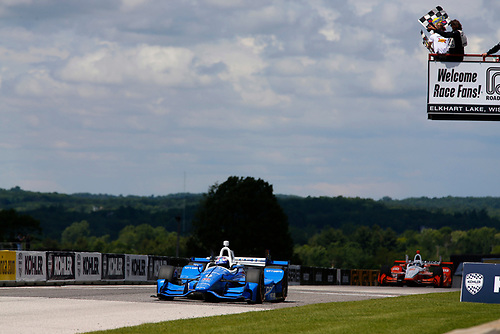 Verizon IndyCar Series<br /> Kohler Grand Prix<br /> Road America, Elkhart Lake, WI USA<br /> Sunday 25 June 2017<br /> Scott Dixon, Chip Ganassi Racing Teams Honda takes the checkered flags<br /> World Copyright: Phillip Abbott<br /> LAT Images<br /> ref: Digital Image abbott_elkhart_0617_8173