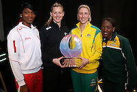 25.08.2016 The captains at the launch of the Netball Quad Series starting this weekend at Vector Arena in Auckland . Mandatory Photo Credit ©Michael Bradley.