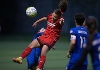 Seattle, WA - Saturday, May 14, 2016: Portland Thorns FC forward Hayley Raso (21) collides with Seattle Reign FC midfielder Kim Little (8) while going up for a ball during the second half. The Portland Thorns FC and the Seattle Reign FC played to a 1-1 tie during a regular season National Women's Soccer League (NWSL) match at Memorial Stadium.