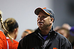 20 October 2013: Clemson head coach Eddie Radwanski. The University of North Carolina Tar Heels hosted the University of Virginia Cavaliers at Fetzer Field in Chapel Hill, NC in a 2013 NCAA Division I Women's Soccer match. North Carolina won the game 2-0.