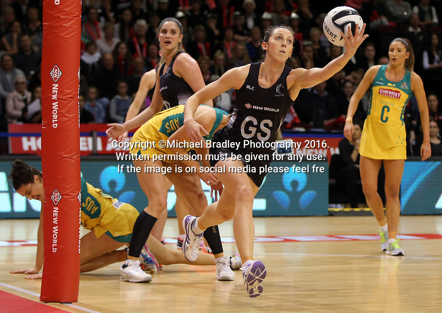 20.10.2016 Silver Ferns Bailey Mes in action during the Silver Ferns v Australia netball test match played at ILT Stadium in Invercargill. Mandatory Photo Credit ©Michael Bradley.