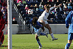 27 November 2010: Heather O'Reilly (USA) (right) is called for a foul on Raffaella Manieri (ITA) (2) on this play. The United States Women's National Team defeated the Italy Women's National Team 1-0 in the second leg of their 2011 FIFA Women's World Cup Qualifier playoff at Toyota Park in Bridgeview, Illinois. The U.S. won the series 2-0 on aggregate goals to advance.