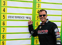 Aug 17, 2014; Brainerd, MN, USA; NHRA top fuel dragster driver Steve Torrence during the Lucas Oil Nationals at Brainerd International Raceway. Mandatory Credit: Mark J. Rebilas-