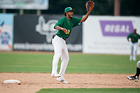 Beloit Snappers second baseman Jesus Lage (12) waits to receive a throw from the catcher on a stolen base attempt during a game against the Dayton Dragons on July 22, 2018 at Pohlman Field in Beloit, Wisconsin.  Dayton defeated Beloit 2-1.  (Mike Janes/Four Seam Images)