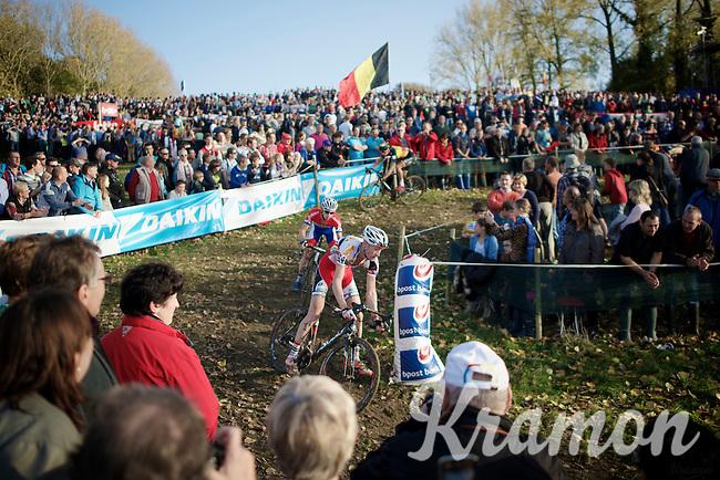 Klaas Vantornout (BEL/Sunweb-Napoleon Games), Lars Van der Haar (NLD/Giant-Shimano) & Sven Nys (BEL/Crelan-AAdrinks) descending the crowded Koppenberg <br /> <br /> Koppenbergcross 2014