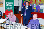The top table at the hall in Dungeagan on Wednesday night last for the public meeting on saving the Ballinskelligs Post Office pictured here l-r; Dessy Cronin, Tom O'Callaghan(Chairman Independent Postmaster Group) & Micheál Ó Leidhin.