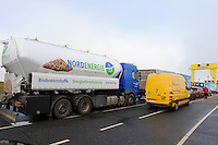 GERMANY transport of wood pellets, which are used for heating / DEUTSCHLAND, Faehre Pellworm, Transport von Holzpellets zum Heizen