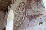 Medieval frescoes church of Saint Mary, Kempley, Gloucestershire, England, UK - wheel of life
