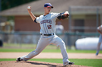 Mahoning Valley Scrappers starting pitcher Grant Hockin (12) delivers a pitch during the first game of a doubleheader against the Auburn Doubledays on July 2, 2017 at Falcon Park in Auburn, New York.  Mahoning Valley defeated Auburn 3-0.  (Mike Janes/Four Seam Images)