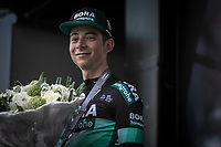 Davide Formolo (ITA/Bora Hansgrohe) podium after finishing 2nd place<br /> <br /> <br />  105TH Liège-Bastogne-Liège 2019 (1.UWT)<br /> 1 Day Race Liège-Liège  (256km)<br /> <br /> ©kramon