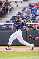 Everett AquaSox's Jean Acevedo #25 at bat during a game against the Spokane Indians at Everett Memorial Stadium on June 24, 2012 in Everett, WA.  Spokane defeated Everett 11-2.  (Ronnie Allen/Four Seam Images)