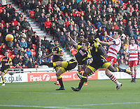 Rotherham United's Richard Wood scores an own goal<br /> <br /> Photographer Mick Walker/CameraSport<br /> <br /> The EFL Sky Bet League One - Doncaster Rovers v Rotherham United - Saturday 11th November 2017 - Keepmoat Stadium - Doncaster<br /> <br /> World Copyright &copy; 2017 CameraSport. All rights reserved. 43 Linden Ave. Countesthorpe. Leicester. England. LE8 5PG - Tel: +44 (0) 116 277 4147 - admin@camerasport.com - www.camerasport.com