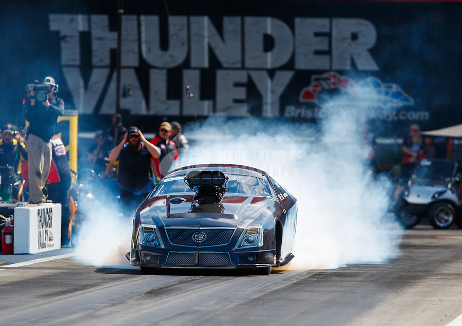 Jun 16, 2017; Bristol, TN, USA; NHRA pro mod driver Steven Whiteley during qualifying for the Thunder Valley Nationals at Bristol Dragway. Mandatory Credit: Mark J. Rebilas-USA TODAY Sports