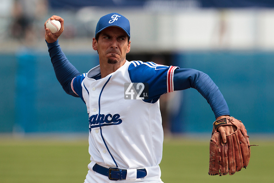 25 july 2010: Starting pitcher Samuel Meurant of France pitches against Czech Republic during France 6-1 victory over Czech Republic, in day 3 of the 2010 European Championship Seniors, in Neuenburg, Germany.
